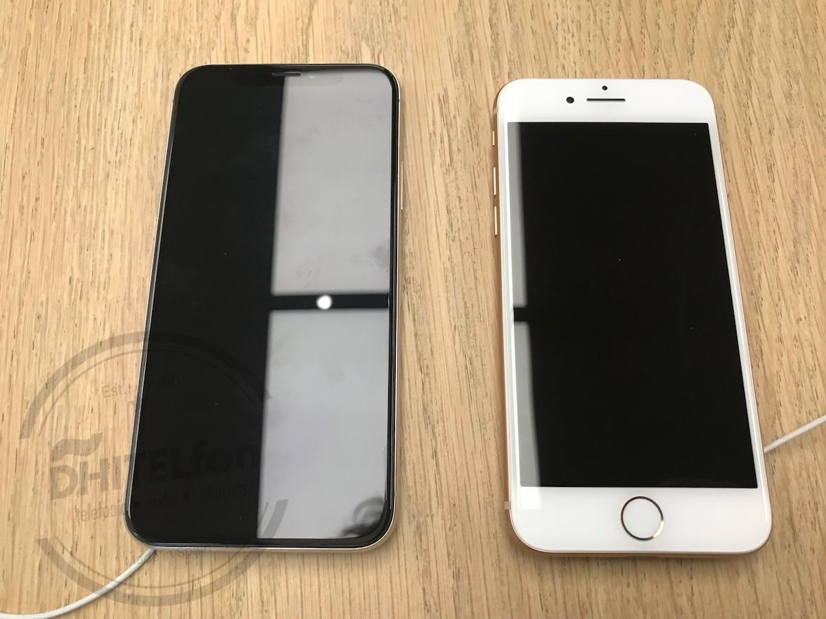 Una comparación entre el iPhone X y el iPhone 8. El X es ligeramente más grande que el 8, pero con una pantalla de 5,8 pulgadas en vez de 4,7.