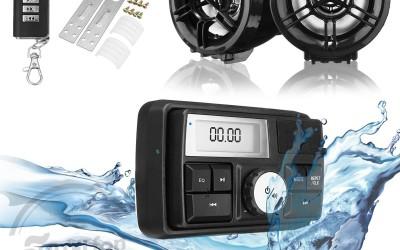 En DHITELfon, Impermeable Moto Audio Sistema de sonido Altavoz estéreo MP3 Radio USB con función Bluetooth